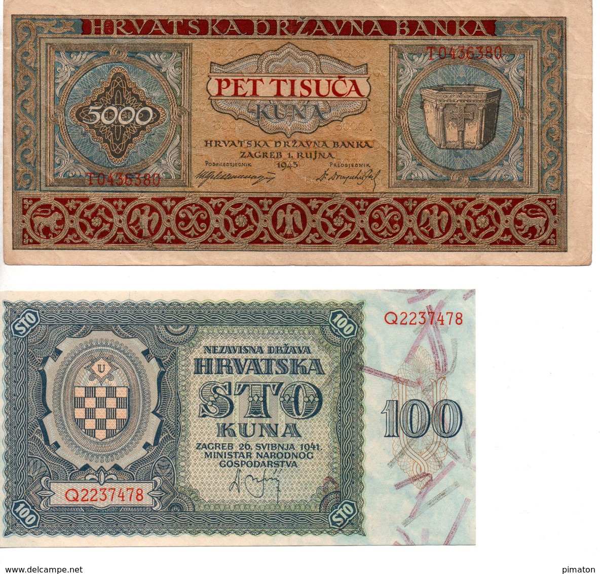 2 Billets De Croatie - 5000 KUNA ( 1941 ) Et 100 KUNA ( 1941 ) - Croatie