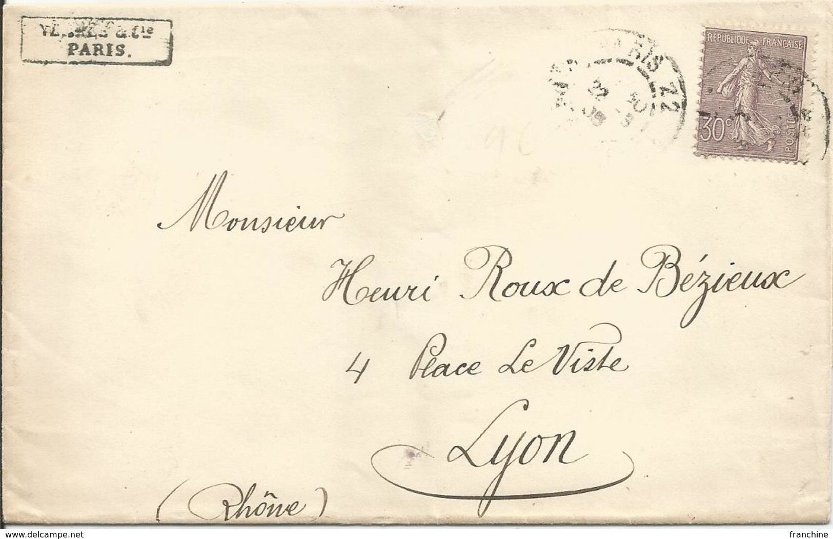 1903 -TYPE SEMEUSE LIGNEE - N° 133  Oblitéré(o) Sur Lettre PARIS -  30 C. Lilas –  Voir Images - 1903-60 Semeuse Lignée