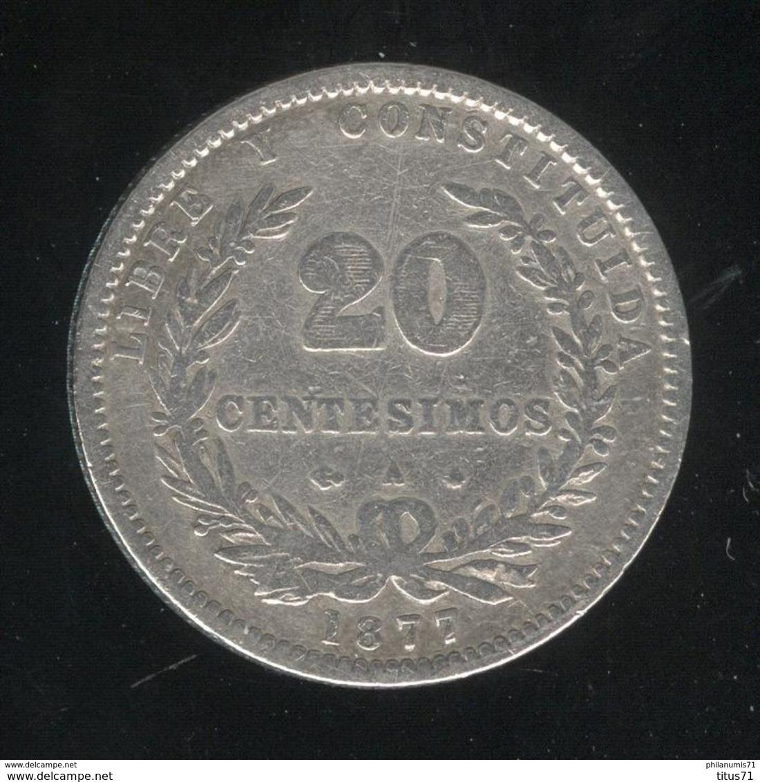 20 Centesimos 1877 Uruguay TB+ - Uruguay