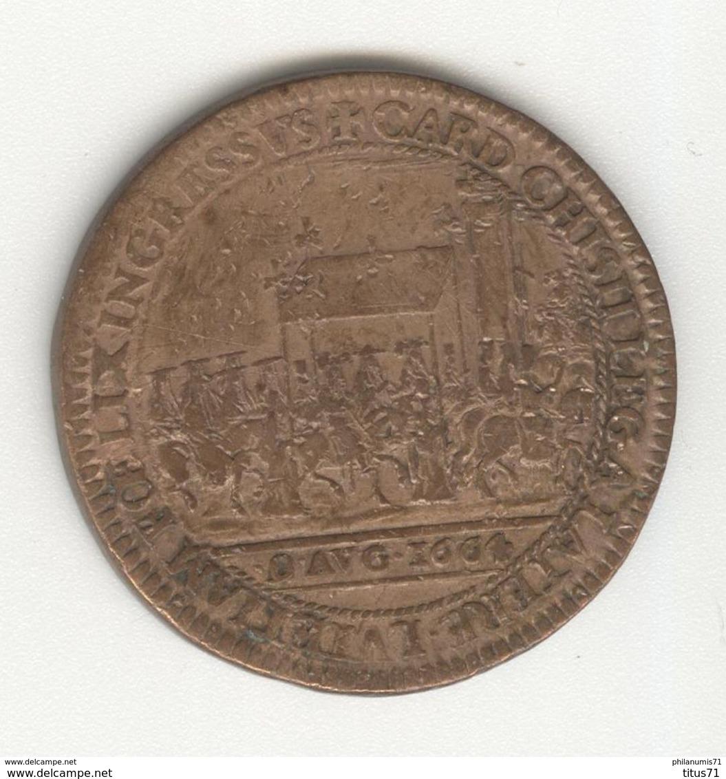 Jeton Legat Du Pape Flavio Chigi à Avignon - 1664 - TTB - Contremarqué MM - Professionnels / De Société