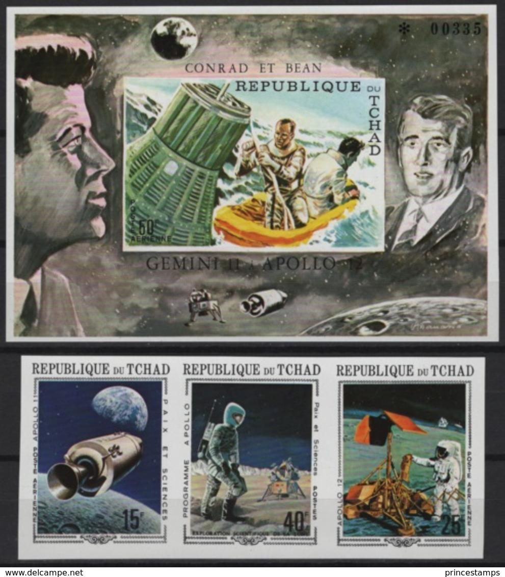 Tchad (1970) Mi. 291/93B + Bl. 6B  /  Espace - Space - Planet - Astronaut - Spaceship - Satellite - Moon - Espacio