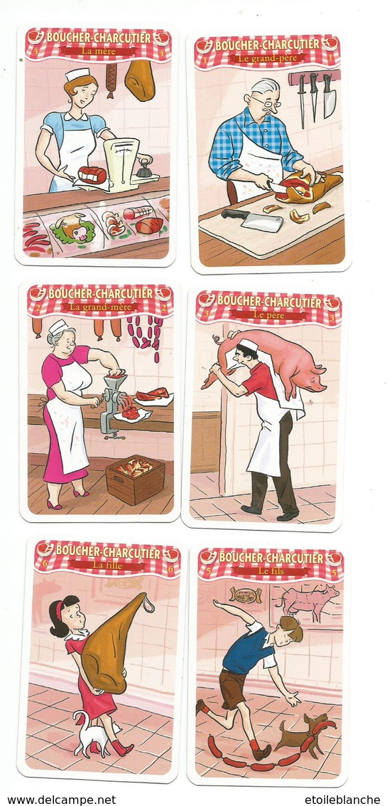 Métier, Boucher-charcutier, Lot 6 Cartes De Jeu 7 Familles - Viande, Jambon, Couteaux, Métier, Commerce, Dessin Humour - Unclassified
