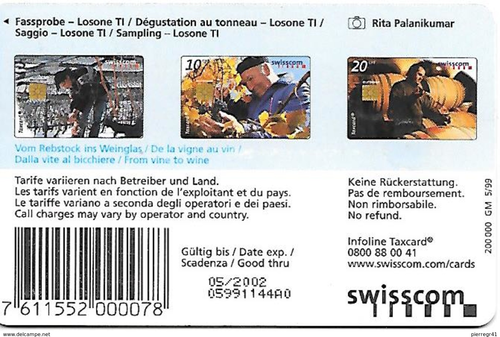 CARTE-PUCE-SUISSE-20CHF-TAXCARD-VIN-Dégustation Au Tonneau-TBE - Schweiz
