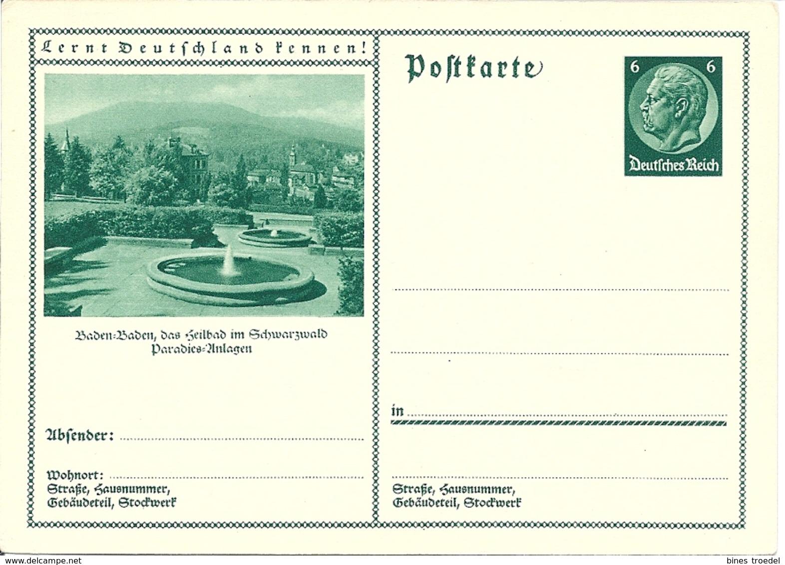 DR P 221 - 08 ** Bild Baden-Baden Paradies-Anlagen - Ganzsachen