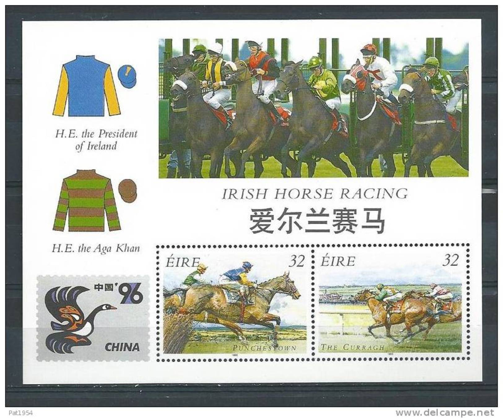 Irlande 1996 Bloc  N°22 Neuf Chine 96 Avec Courses De Chevaux - Blocchi & Foglietti