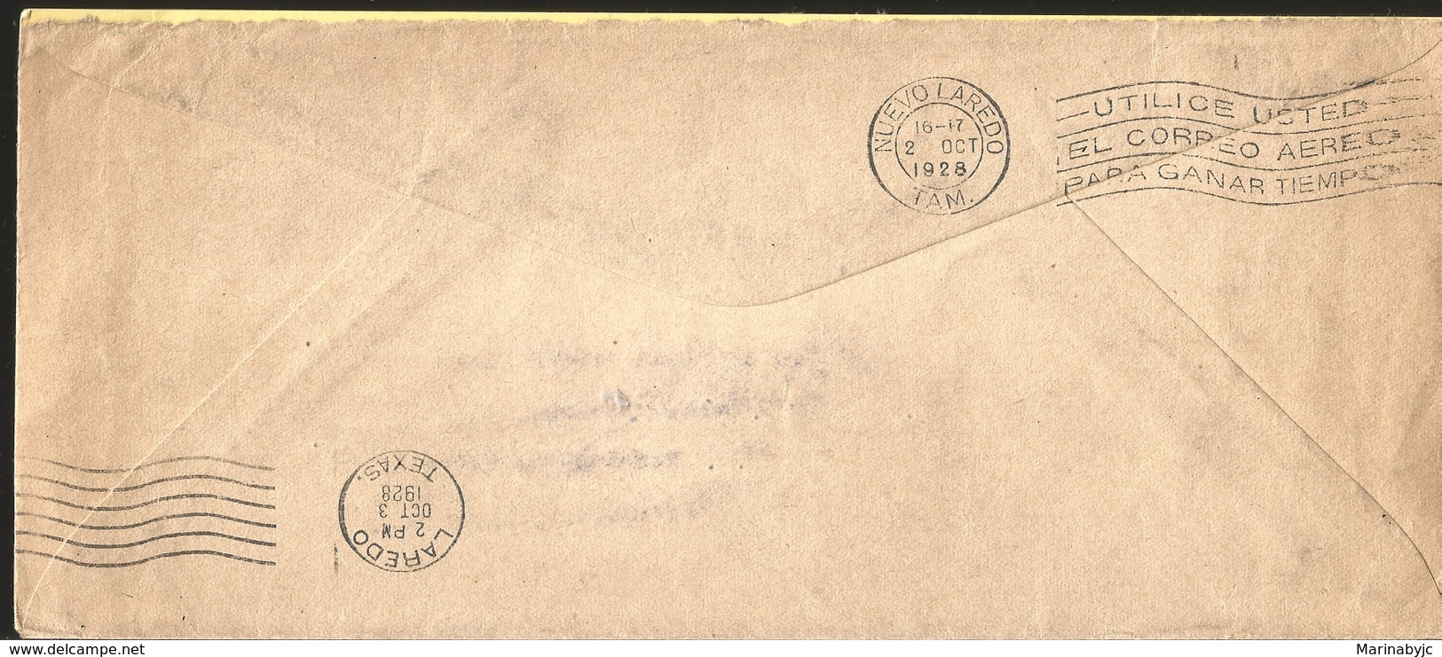 J) 1928 MEXICO, FIRST FLIGHT INAUGURAL, SECRETARIAT OF FINANCE AND PUBLIC CREDIT, EAGLE CANCELLATION, MULTIPLE STAMPS, A - Mexico