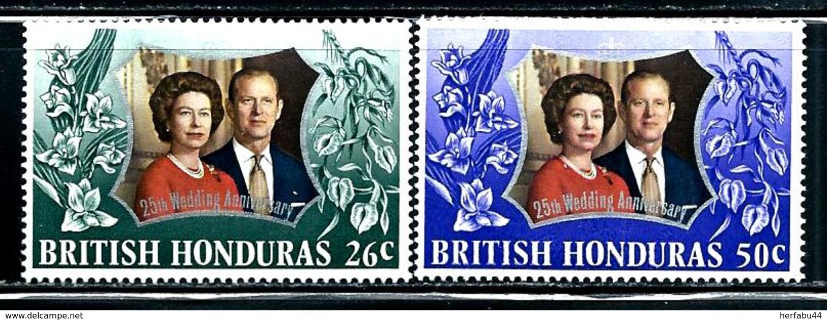 "British Honduras      ""Silver Wedding""     Set    SC# 306-07     MNH - British Honduras (...-1970)"