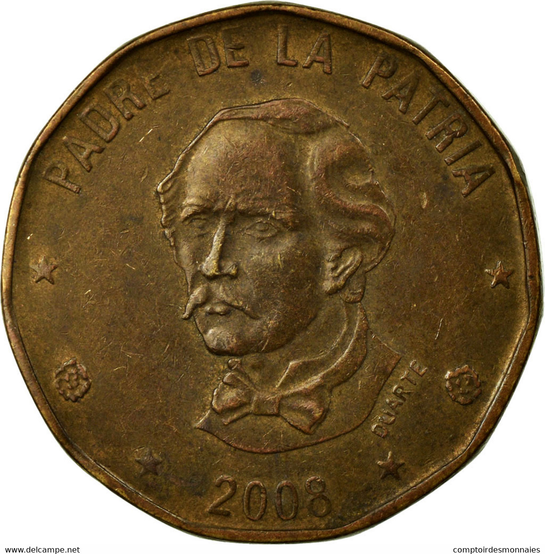 Monnaie, Dominican Republic, Peso, 2008, TB+, Laiton, KM:80.2 - Dominicaine
