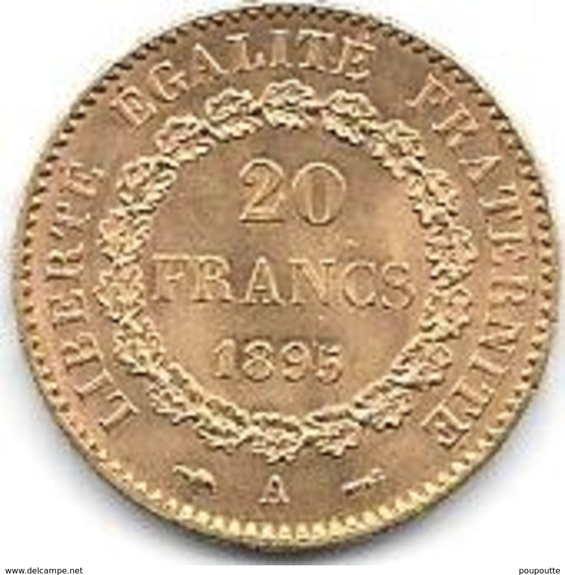 20 Frs OR FRANCE TYPE GENIE DEBOUT 1895 - Or