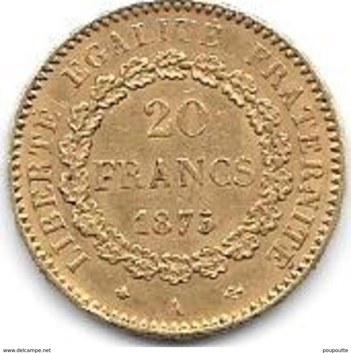 20 Frs OR FRANCE TYPE GENIE DEBOUT 1875 - Goud