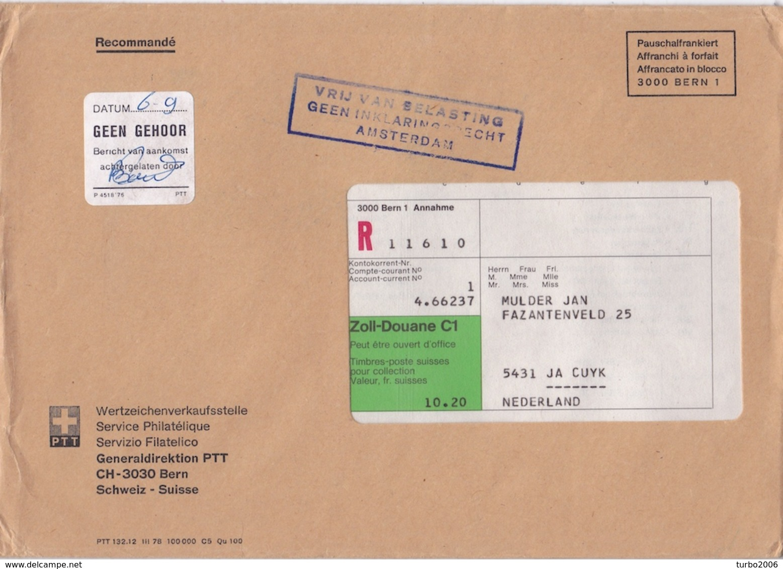 1979 Aangetekende Envelop 16 X 23 Cm Uit Zwitserland Met O.a. VRIJ VAN BELASTING, GEEN INKLARINGSRECHT AMSTERDAM - Poststempels/ Marcofilie
