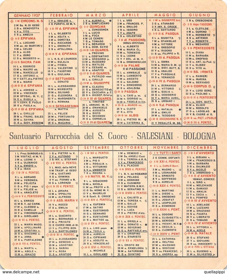 """08880 """"CALENDARIETTO-S. DOMENICO SAVIO-SACRO CUORE DI GESU'- SANTUARIO SALESIANI BOLOGNA-1957"""" - Petit Format : 1941-60"""