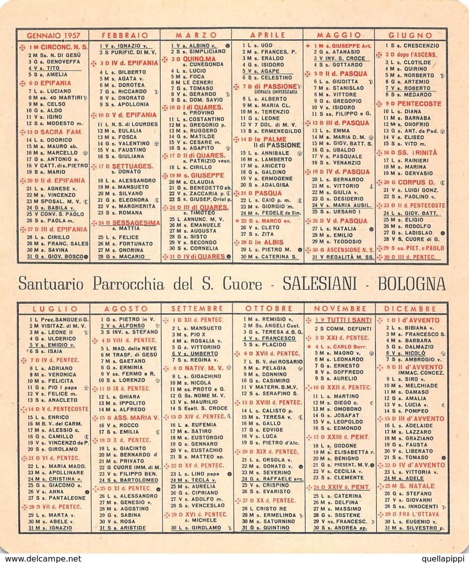 """08881 """"CALENDARIETTO-S. TERESA DEL BAMBINO GESU'-SACRO CUORE DI GESU'- SANTUARIO SALESIANI BOLOGNA-1957"""" - Calendriers"""