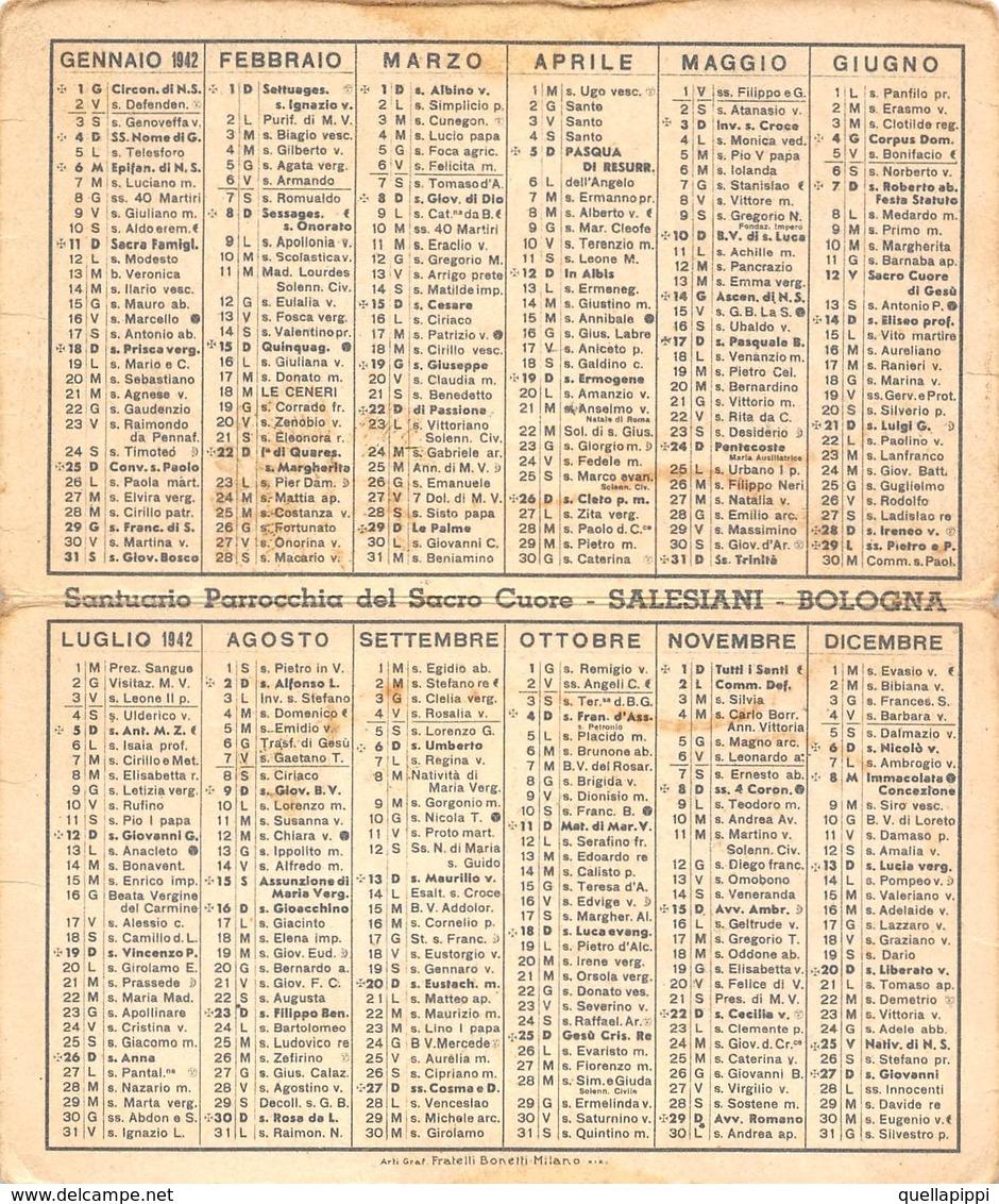 """08882 """"CALENDARIETTO-AIUTO DEI CRISTIANI-SACRO CUORE DI GESU'- SANTUARIO SALESIANI BOLOGNA-1942"""" - Calendriers"""