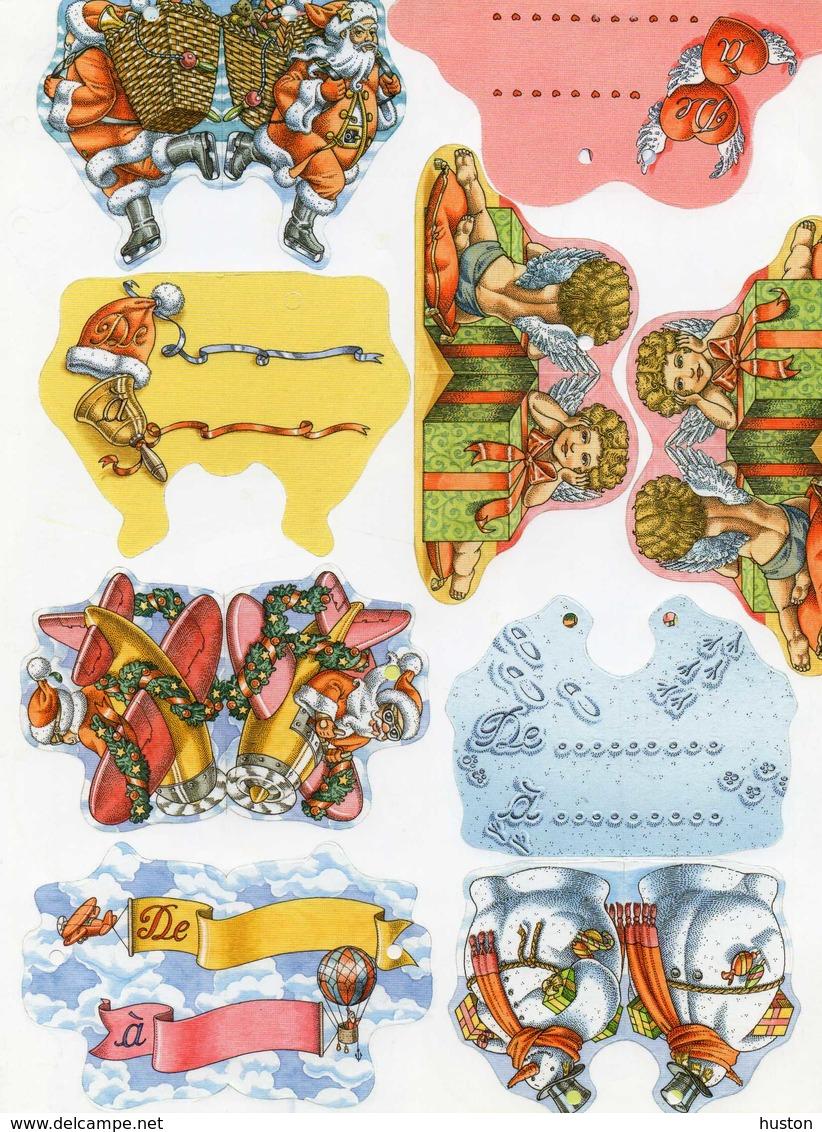 Découpis, Père Noël Dans Un Avion, Patinant, Hotte, Anges, Bonhommes De Neige - Kerstmotief