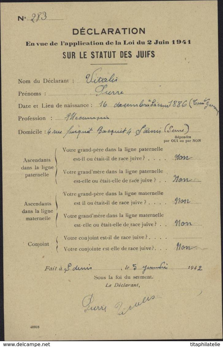 Guerre 39 45 Commissariat Question Juive Judaica Persécution Raciale Déclaration Statuts Des Juifs Loi 2 6 41 St Denis - Marcofilia (sobres)