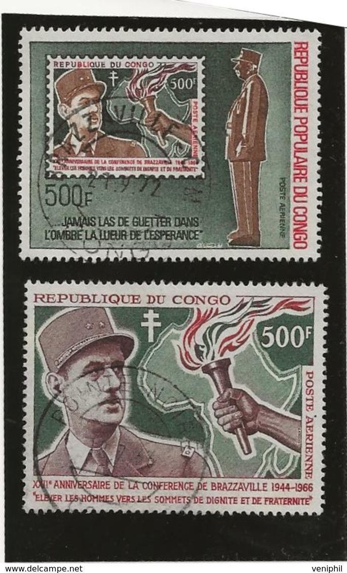 CONGO - POSTE AERIENNE -THEME DE GAULLE N° 38 ET 134 -TB - COTE : 45 € - Oblitérés