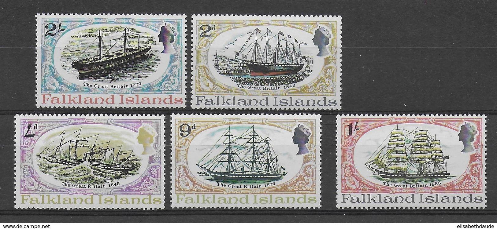 FALKLAND - BATEAUX - YVERT 186/190 ** MNH - COTE = 11 EUR. - Falkland