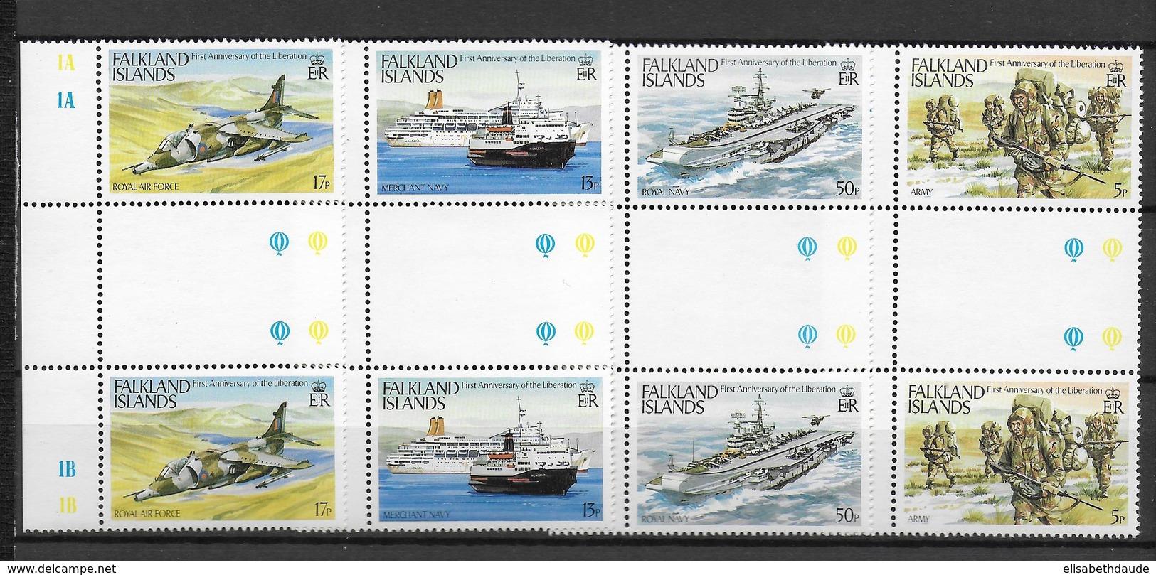 FALKLAND - ARMEE - YVERT 391/394 En PAIRE INTERPANNEAU ** MNH - COTE = 10+ EUR. - Falkland