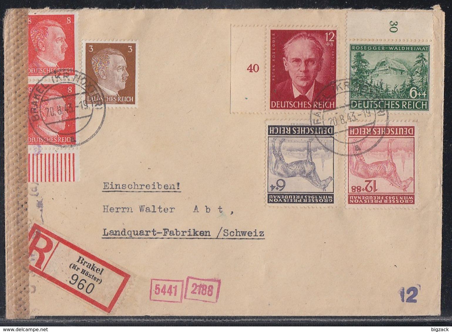 DR R-Brief Mif Minr.782,2x 786 UR,855,856,857,858 Brakel 20.8.43 Gel. In Schweiz Zensur - Briefe U. Dokumente