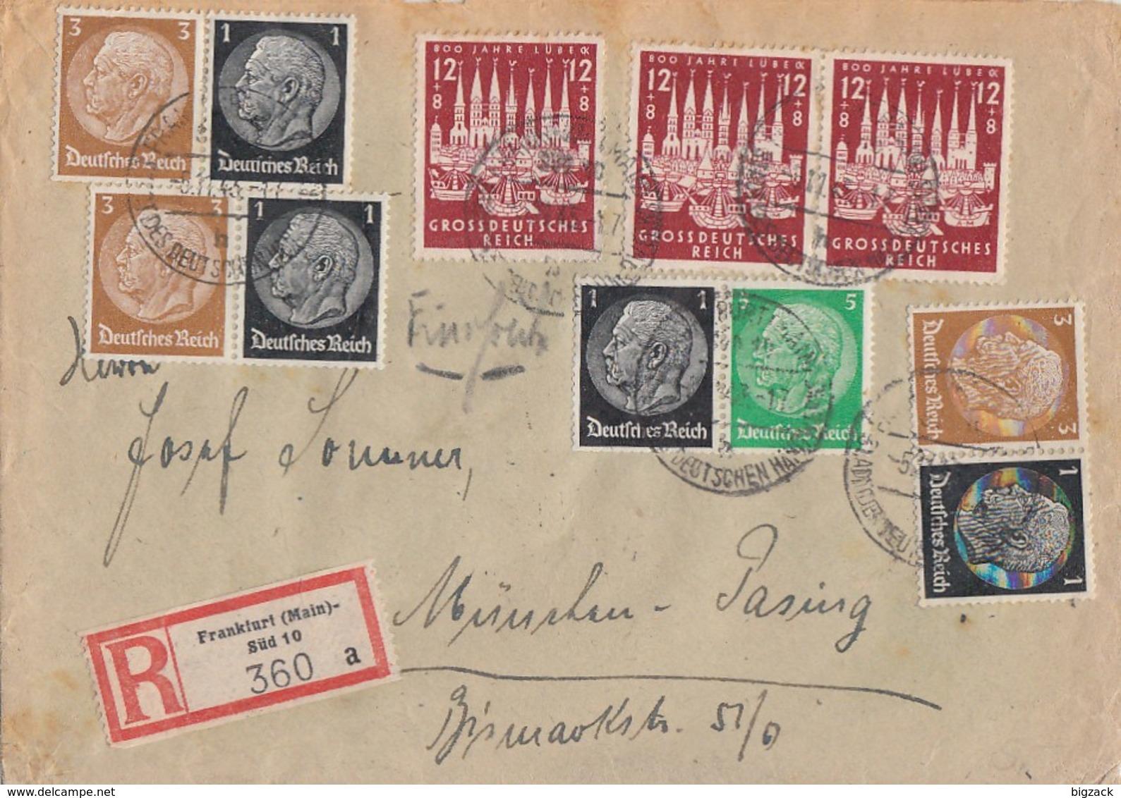 DR R-Brief Mif Minr.3x 862, Zdr. Minr.3x W77,W71 Frankfurt 5.11.43 - Deutschland