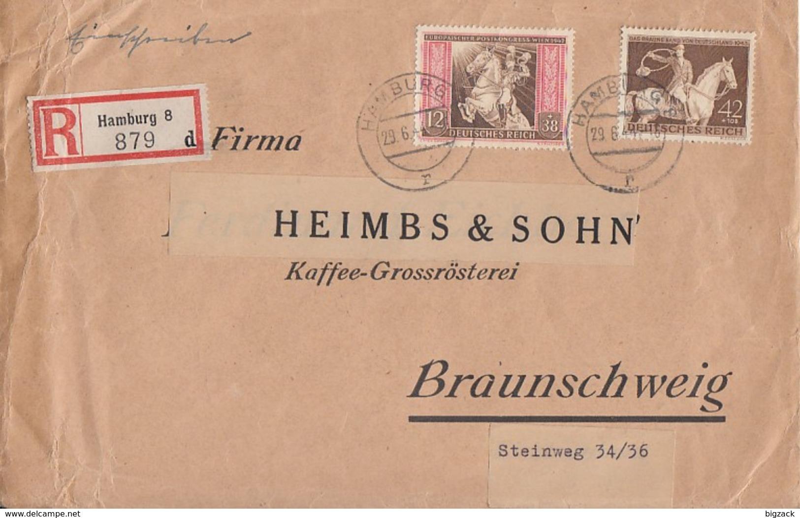 DR R-Brief Mif Minr.822,854 Hamburg 29.6.44 - Briefe U. Dokumente