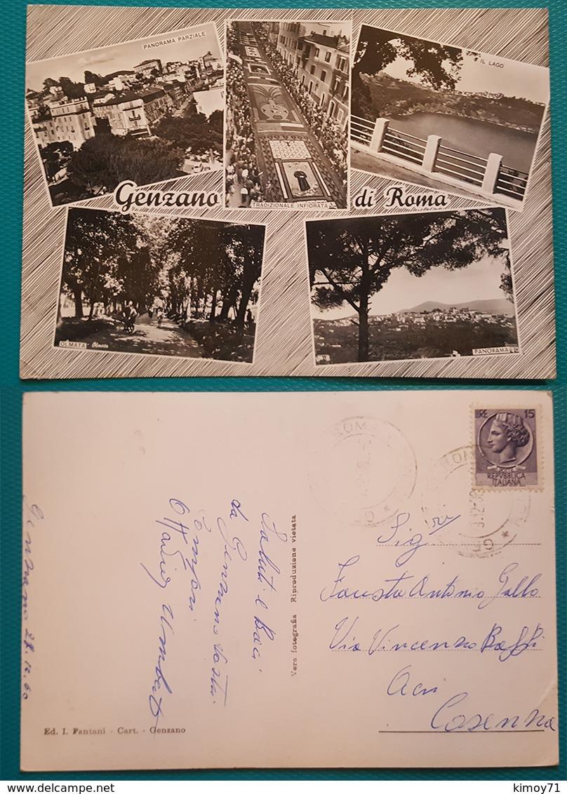 Cartolina Genzano Di Roma - Vedutine. Viaggiata - Italia