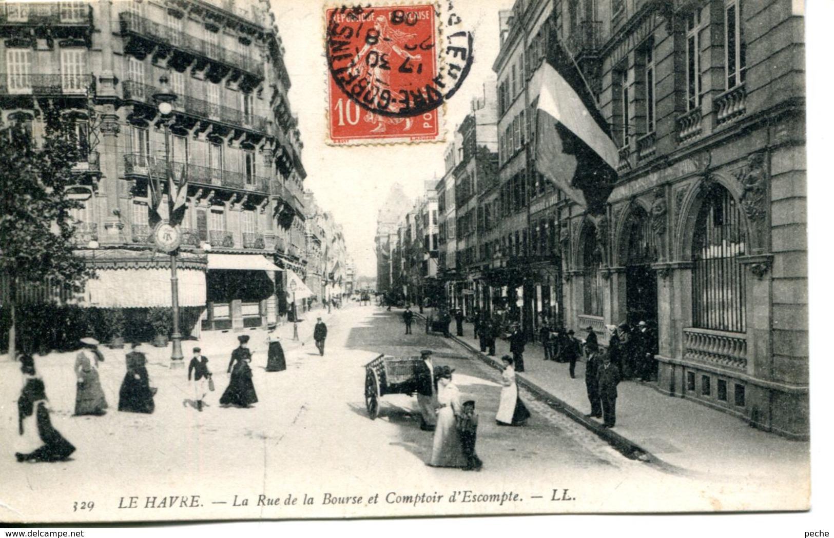 N°66776 -cpa Le Havre -la Rue De La Bourse Et Comptoir D'Escompte- - Banques