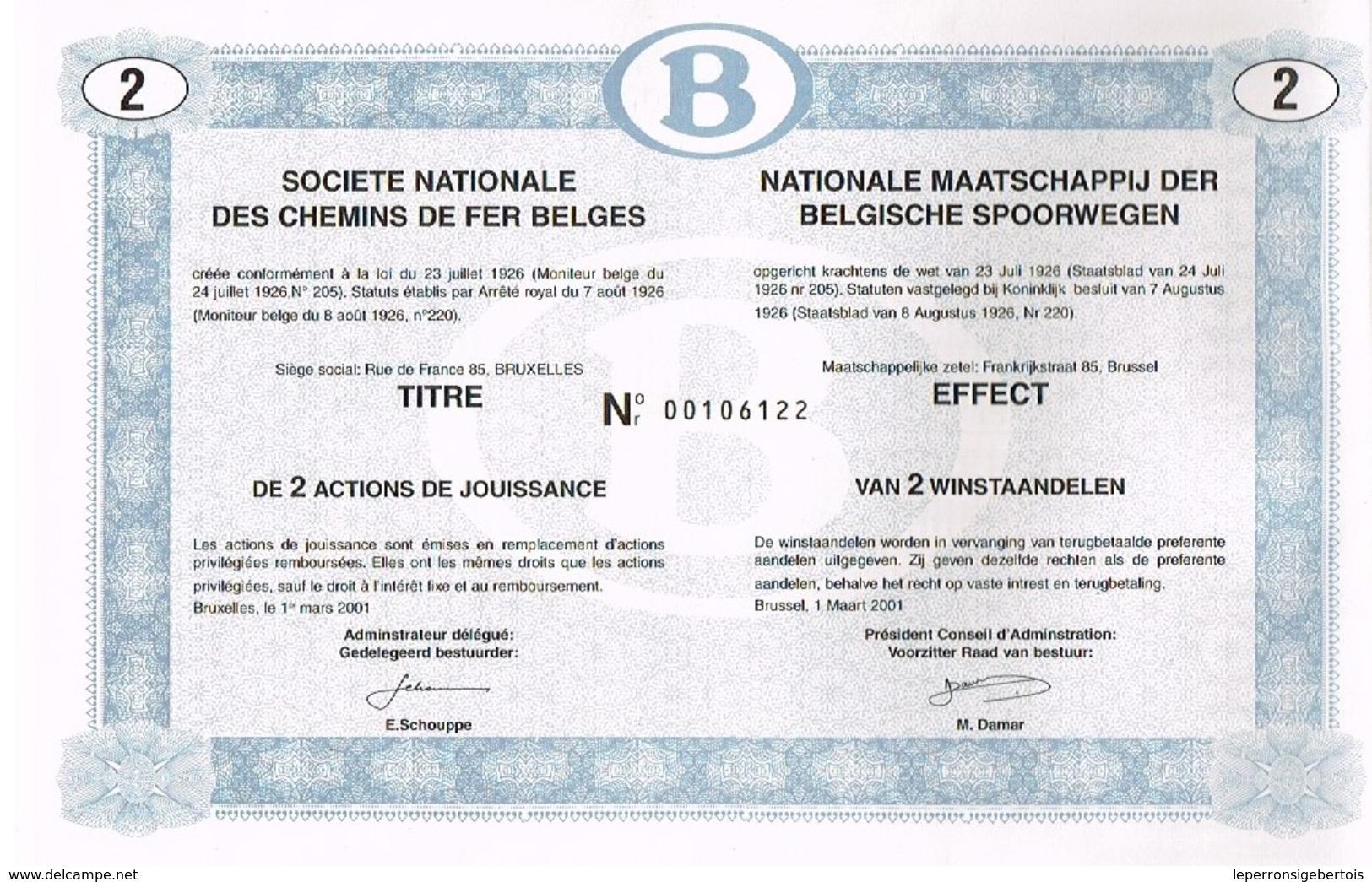 Action Ancienne - Société Nationale Des Chemins De Fer Belges (SNCB) - Titre De 2001 - Chemin De Fer & Tramway