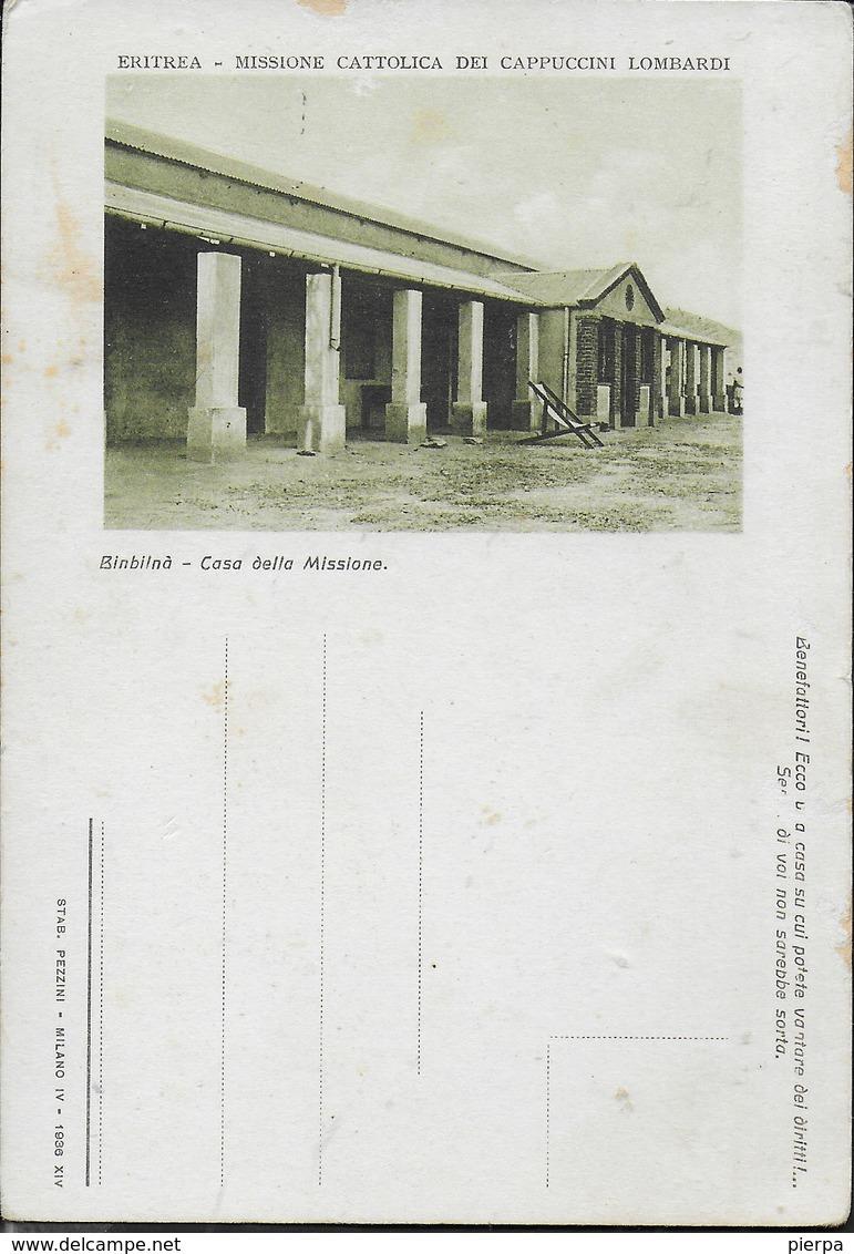 ERITREA - MISSIONE CATTOLICA DEI CAPPUCCINI LOMBARDI - BINBILNA' CASA DELLA MISSIONE - EDIZ. PEZZINI 1936 - Missioni