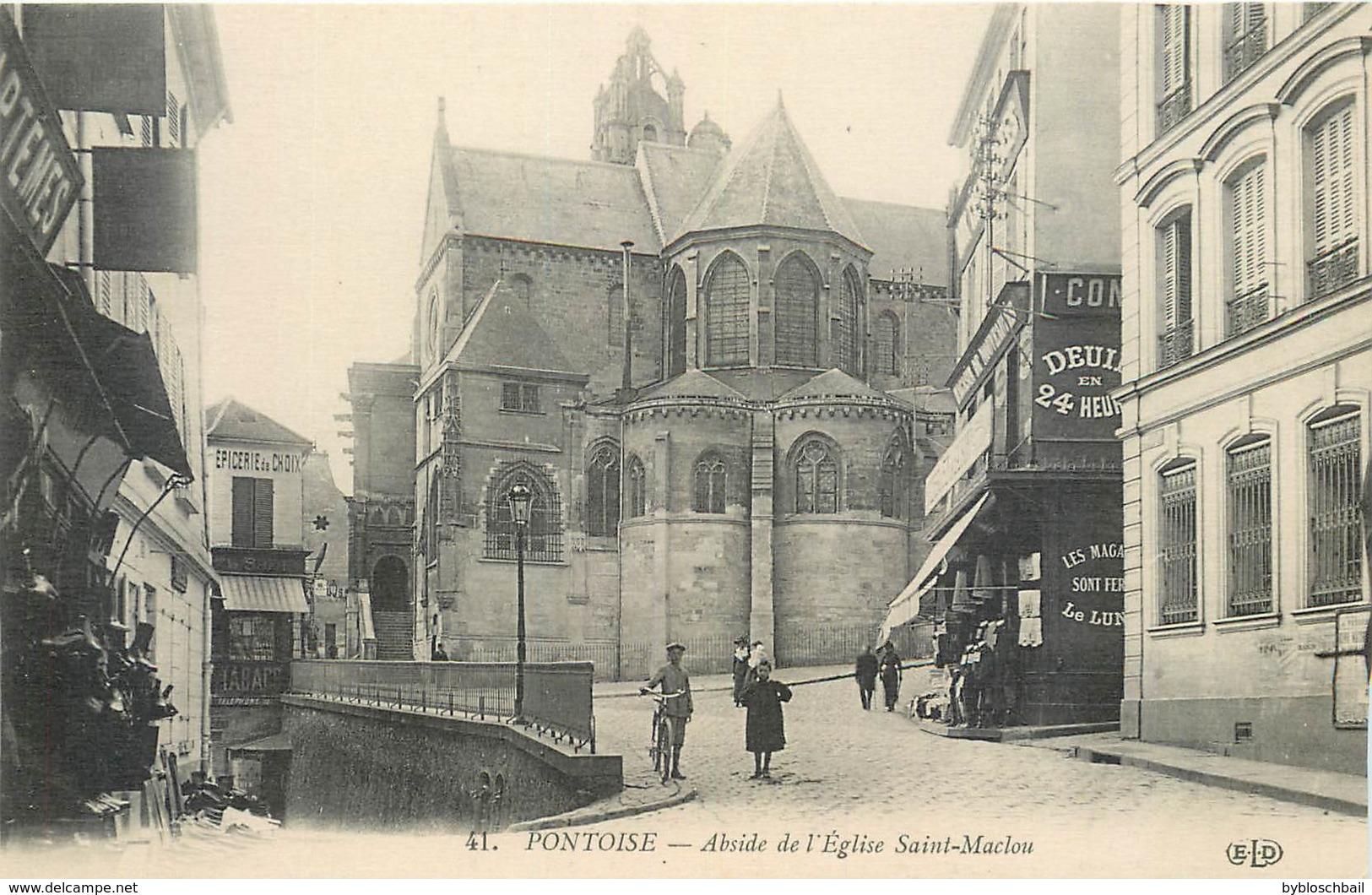 CPA 95 Val Oise - Pontoise - Abside De L'Eglise Saint Maclou St - Neuve - ELD 41 - Epicerie - Tabac - Cycliste - Pontoise