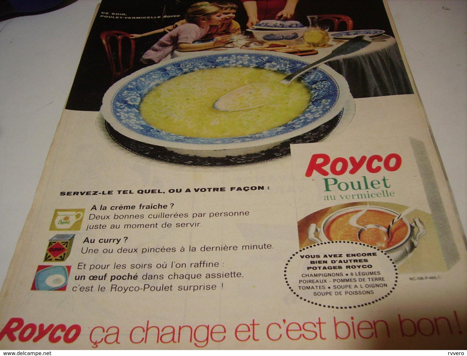 ANCIENNE PUBLICITE POULET VERMICELLE DE ROYCO 1961 - Affiches