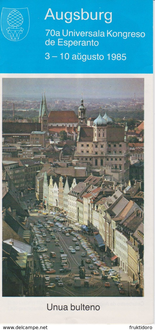Brochure 70th World Esperanto Conference In Augsburg, Germany - 70a Universala Kongreso 1985 - Boeken, Tijdschriften, Stripverhalen
