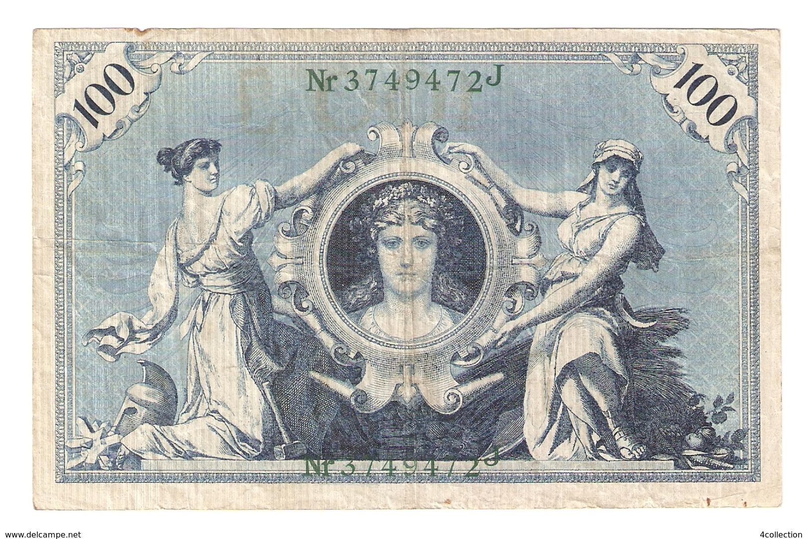 T. Germany German Empire 100 Mark 1908 Reichsbanknote Green Seal & Ser. 3749472 J - 100 Mark