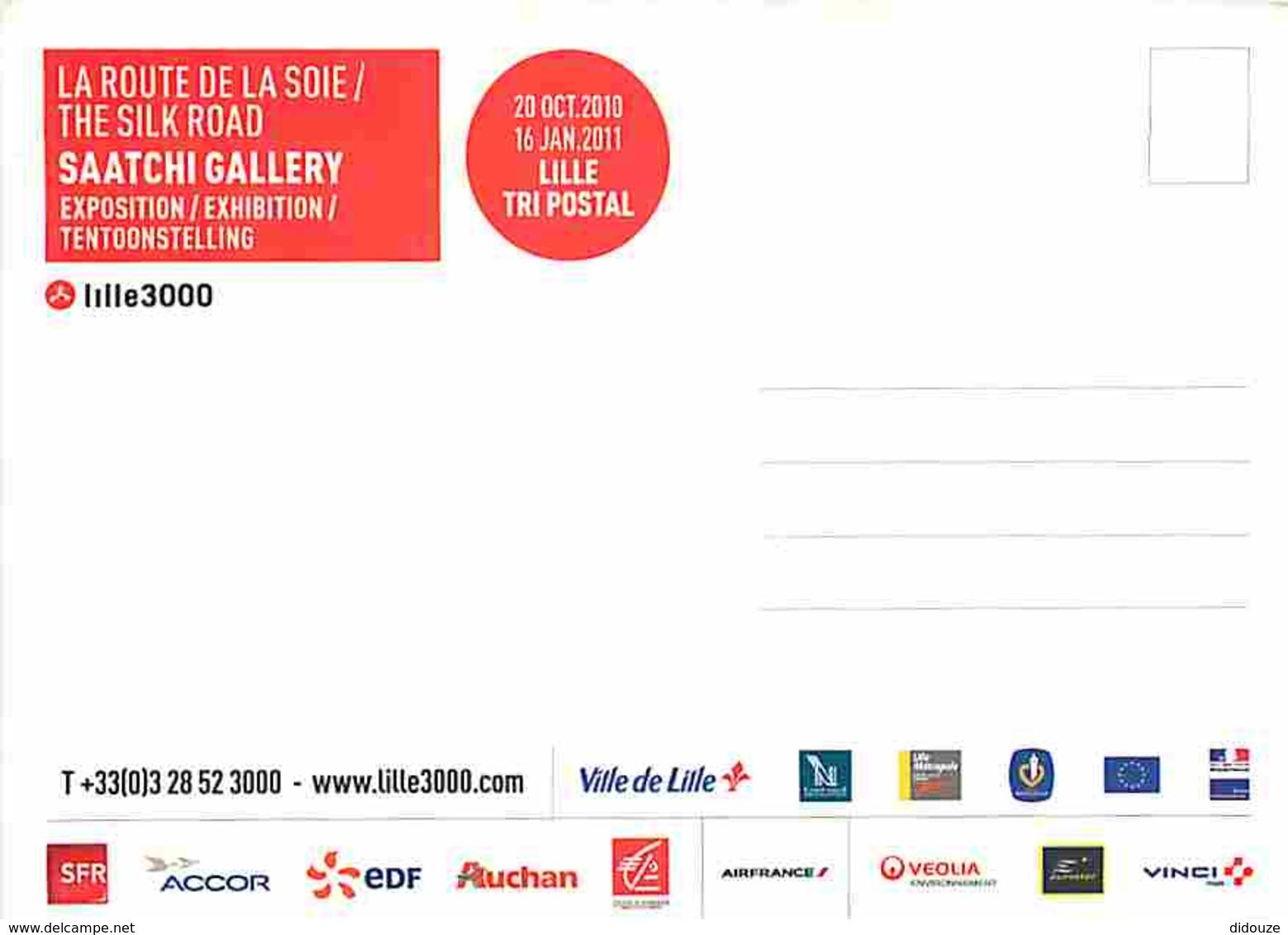 Animaux - Chats - Dessin - Carte Publicitaire Pour L'exposition  Lille 3000 La Route De La Soie - Carte Neuve - Voir Sca - Cats