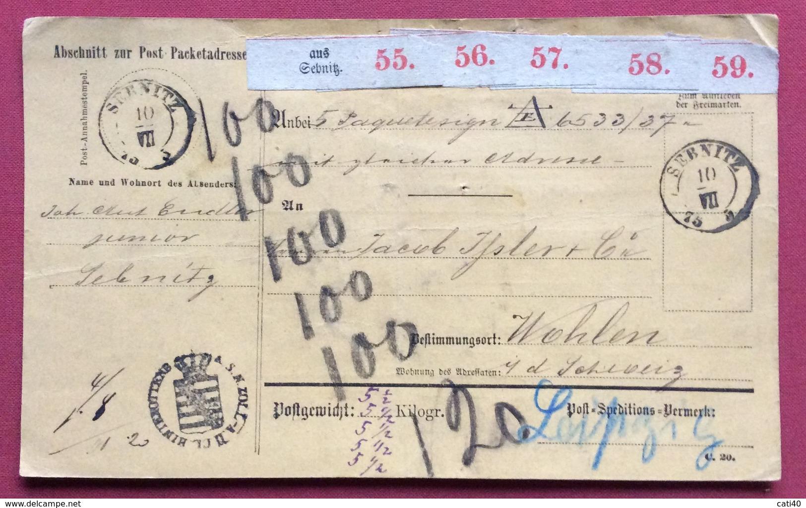 GERMANY PAKETKARTEN FROM SEBNITZ  TO WOHLEN SUISSE   10/VII/75 - Germany