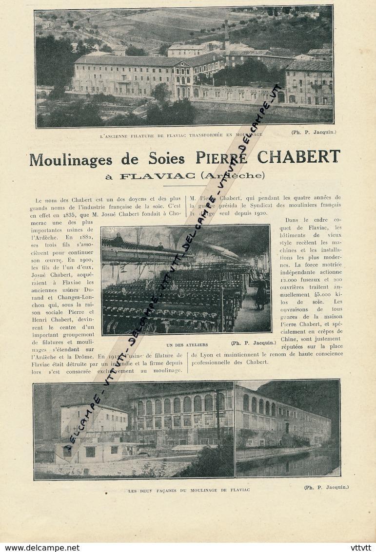 1925 : Document, ARDECHE (1 Page Illustrée) Moulinages De Soies Pierre Chabert, Flaviac, Filature, Ateliers, Façades - Vieux Papiers