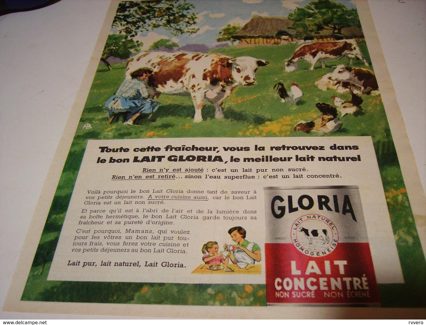 ANCIENNE AFFICHE PUBLICITE  LAIT CONCENTRE GLORIA 1959 - Affiches