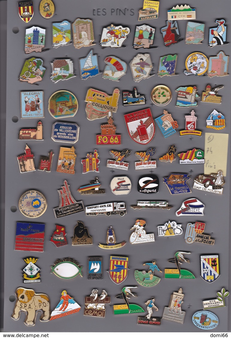 Lot De 74 Pin's Des PO (66) - Lots