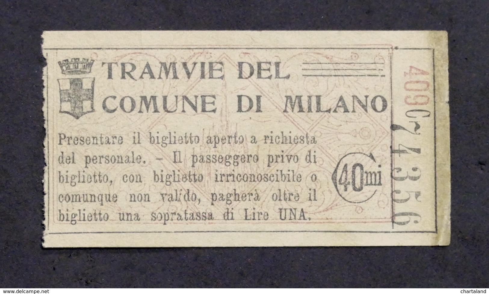 Collezionismo - Biglietto Tram Di Milano - Anni '50 - Vecchi Documenti