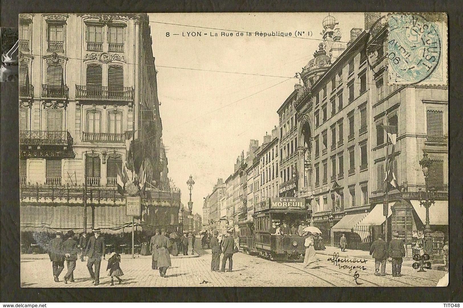 CP-LYON - La Rue De La République (N'1) - Lyon
