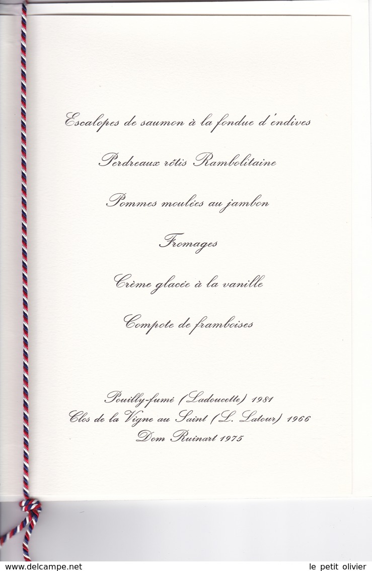 MENU PRÉSIDENTIEL ORIGINAL DÎNER 1983 OFFERT PAR Mr FRANCOIS MITTERRANT AU ROI ET REINE D ESPAGNE - Menus