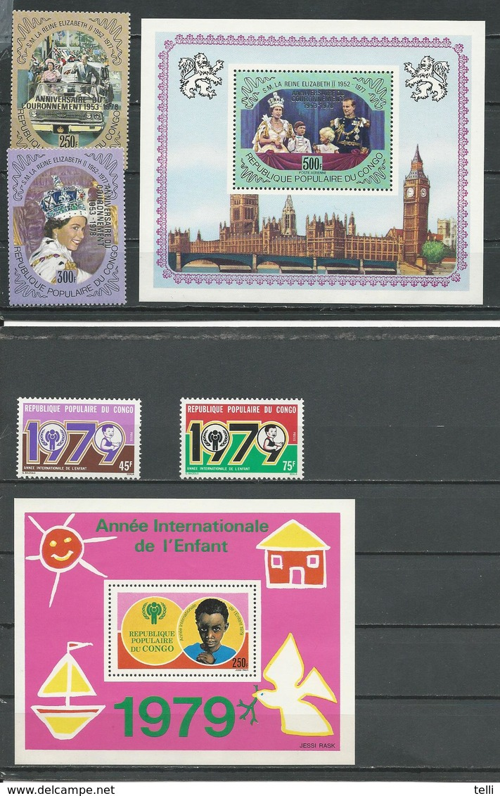 CONGO Scott 468-469 C244, 495-496 495A Yvert 515-516 BF17, 540-541 BF21 (4+2blocs) ** Cote 13,60 $ 1978-9 - Congo - Brazzaville