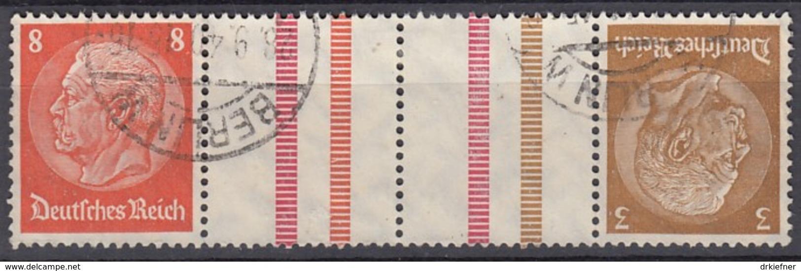 DR KZ 34, Gestempelt, Hindenburg 1940/41 - Zusammendrucke