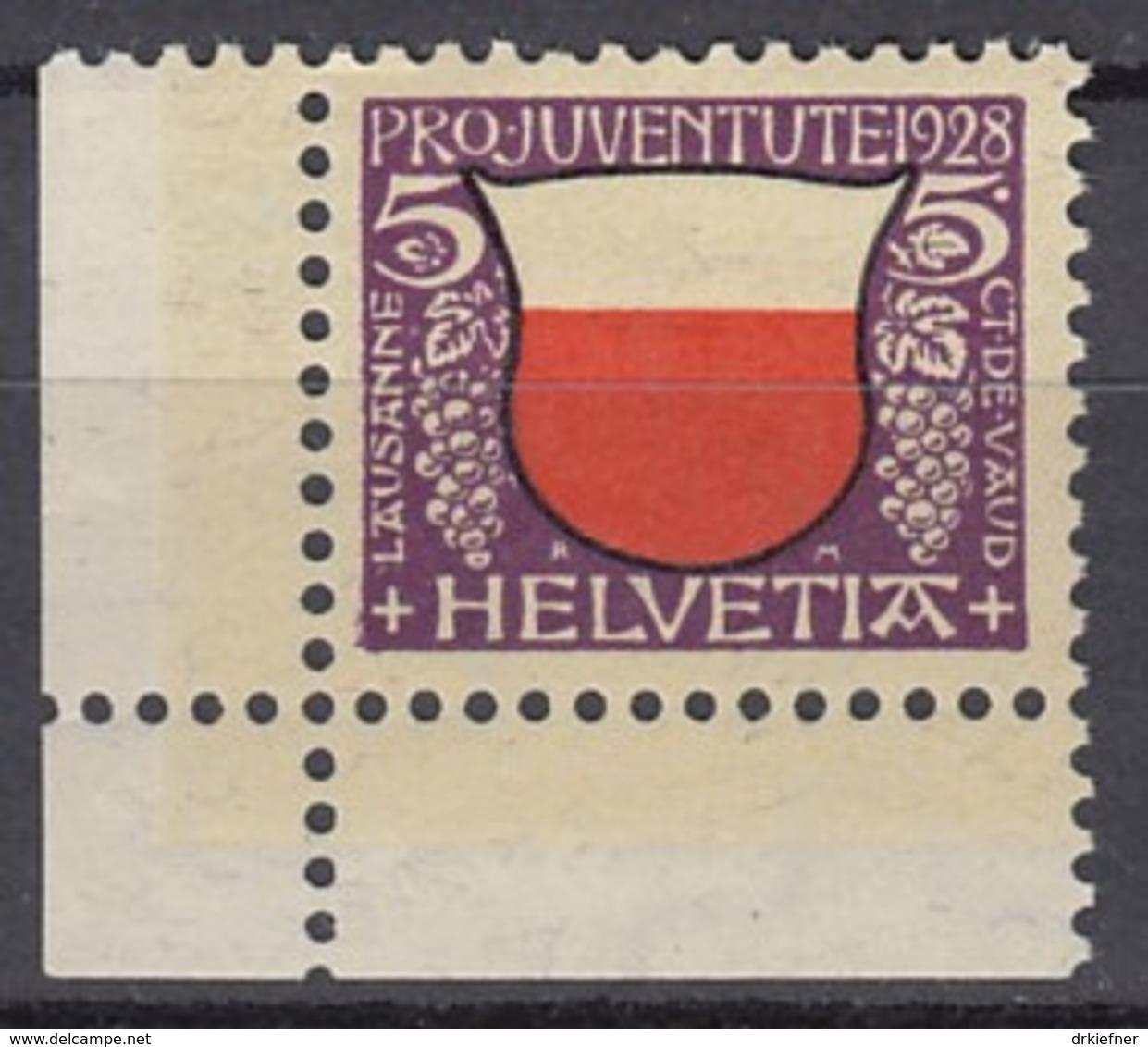 SCHWEIZ, 229, Eckrand Ul, Postfrisch **, Pro Juventute 1928 - Pro Juventute