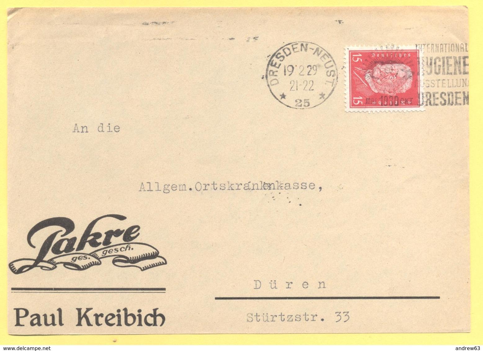 Deutsches Reich - 1929 - 15 + Flamme Dresden Internationale Hygiene Ausstellung - Fragment - Viaggiata Da Dresden Per Dü - Deutschland