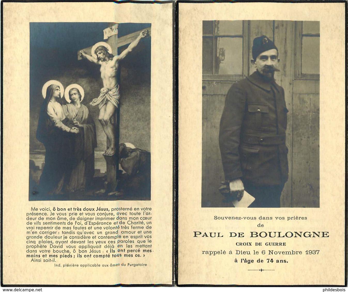 FAIRE PART ACTE DE DECES  Paul De BOULONGNE Croix De Guerre - Décès