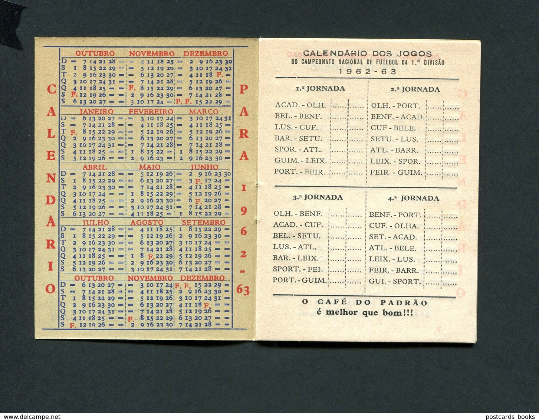 Publicidade CAFE Do PADRAO Calendario 1963 TOTOBOLA Jogos Futebol 1ª Divisao. Livrinho Com 20 Paginas PORTO / PORTUGAL - Calendriers