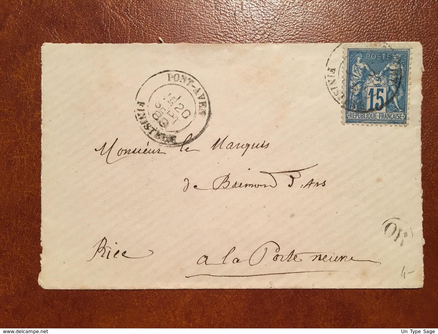 France - Type Sage Sur Lettre De Pont-Aven, 1888 + Cachet OR - (B1153) - 1877-1920: Période Semi Moderne