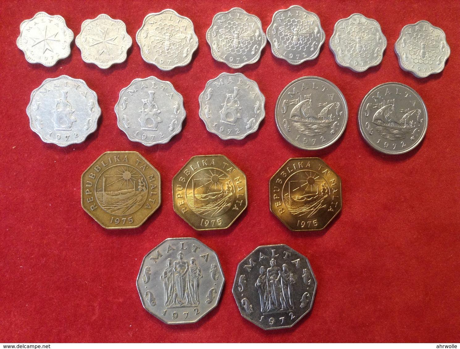 Münzenlot Malta 17 Münzen 2 Mils Bis 50 Cents 1972 Bis 1975 - Malte